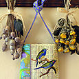 8 Periwinkle Green Finches Collage Bag