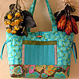 10A Turquoise with Shooting Star Tote pocket side
