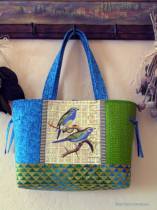 Blue Green Finches Collage Tote