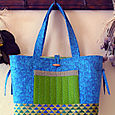 12A Blue Green Finches Collage Tote pocket side