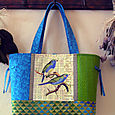 12 Blue Green Finches Collage Tote