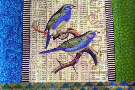 Blue Green Finches Collage Tote detail copy