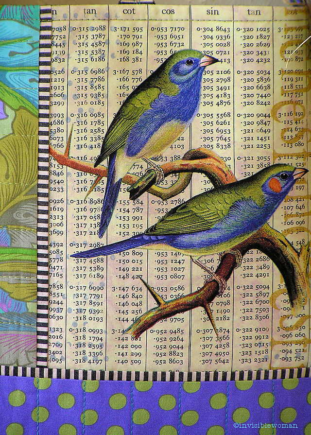 8A Periwinkle Green Finches Zoom Collage Bag