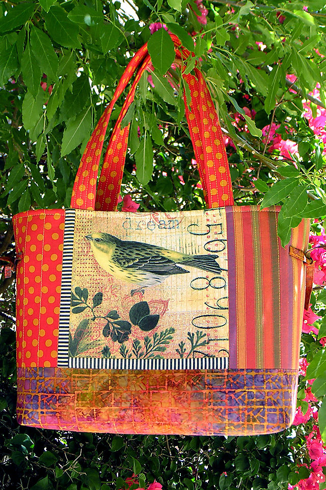 7 Tote yellow bird collage