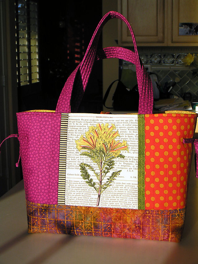 6Tote yellow & pink flower french print